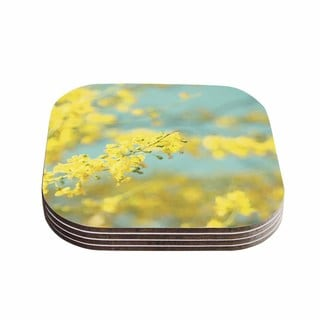 Sylvia Coomes 'Yellow Blooms 2' Blue Yellow Coasters (Set of 4)