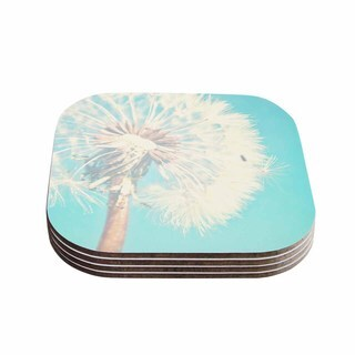 Sylvia Coomes 'Aqua Dandelion' Photography Floral Coasters (Set of 4)