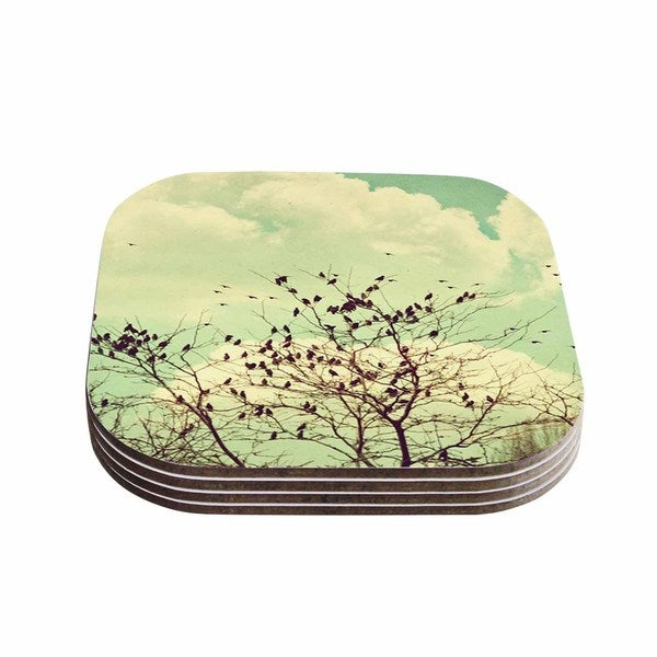 Sylvia Coomes 'Birds of a Feather' Green Brown Coasters (Set of 4)