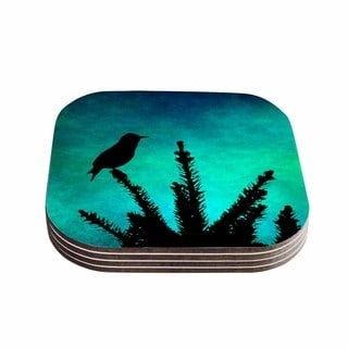 Sylvia Coomes 'Bird Silhouette' Teal Black Coasters (Set of 4)