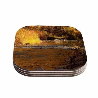 Sylvia Coomes 'Autumn Stream' Brown Yellow Coasters (Set of 4)