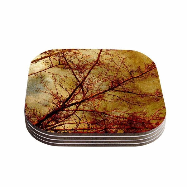 Sylvia Coomes 'Gothic Red Tree' Gold Nature Coasters (Set of 4)