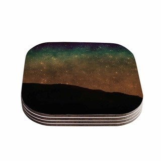 Sylvia Coomes 'Star Light' Teal Brown Coasters (Set of 4)