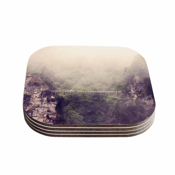 Sylvia Coomes 'Foggy Mountain Landscape' Brown Green Coasters (Set of 4)