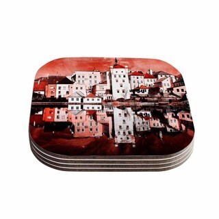 Suzanne Carter 'Red Sky At Night' Red White Coasters (Set of 4)