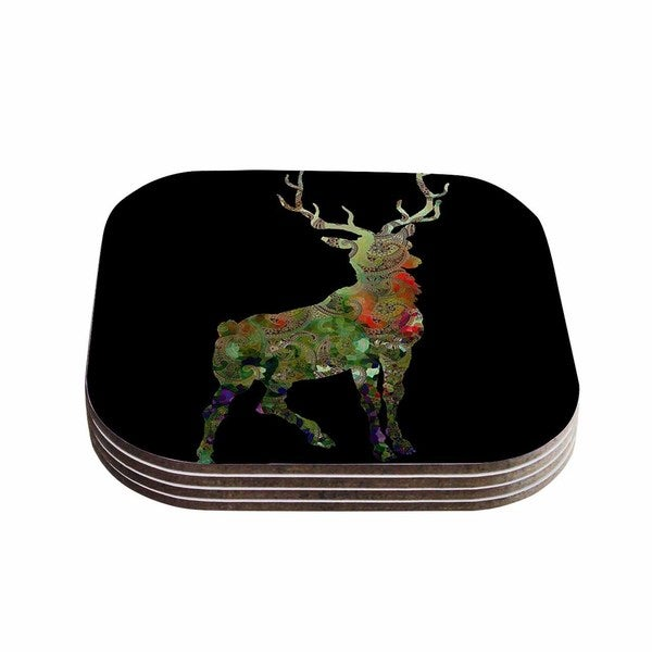 Suzanne Carter 'Paisley Deer' Black Abstract Coasters (Set of 4)