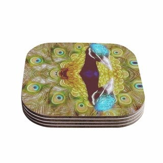 Suzanne Carter 'Reflected' Green Peacock Coasters (Set of 4)