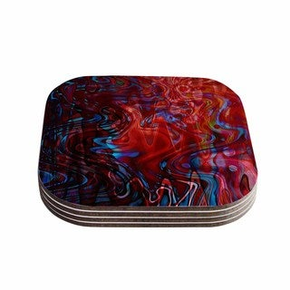 Suzanne Carter 'Flow' Red Blue Coasters (Set of 4)