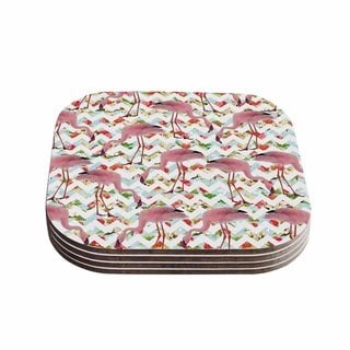 Suzanne Carter 'Flamingo Chevron & Roses' Pink Digital Coasters (Set of 4)