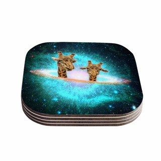 Suzanne Carter 'Fred & Larry ' Teal Fantasy Coasters (Set of 4)