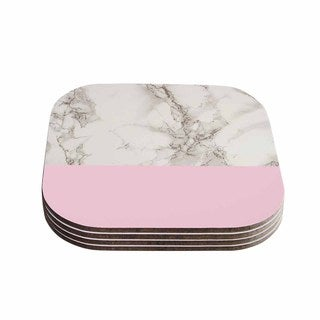 Suzanne Carter 'Marble And Pink Block' Modern Contemporary Coasters (Set of 4)