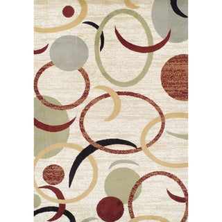 Multi-colored Olefin Machine-made Circles Rug (5'2 x 7'7)