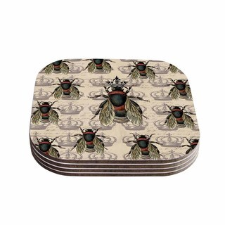 Suzanne Carter 'Queen Bee' Black Tan Coasters (Set of 4)