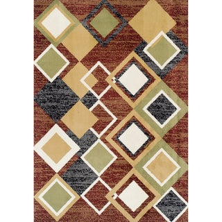 Argyle Multicolor Olefin Machine-made Rug (5'2 x 7'7)