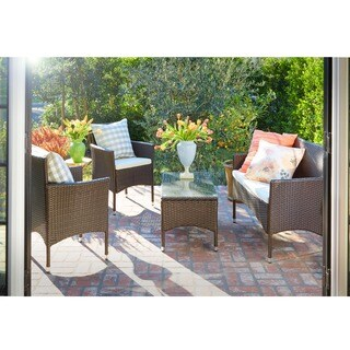 angelo:HOME 4-Piece Patio Chat Set - Brown
