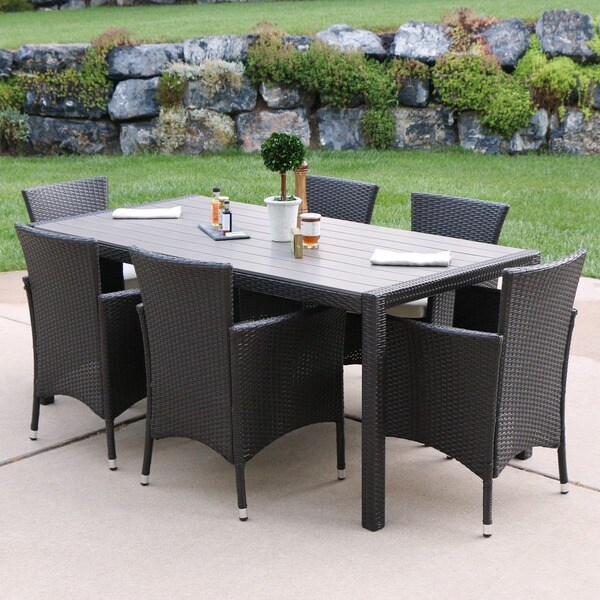 Angelo home 7 piece rattan dining set brown free shipping today 18689811 Angelo home patio furniture