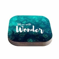 Suzanne Carter 'Wonder 2' Teal White Coasters (Set of 4)