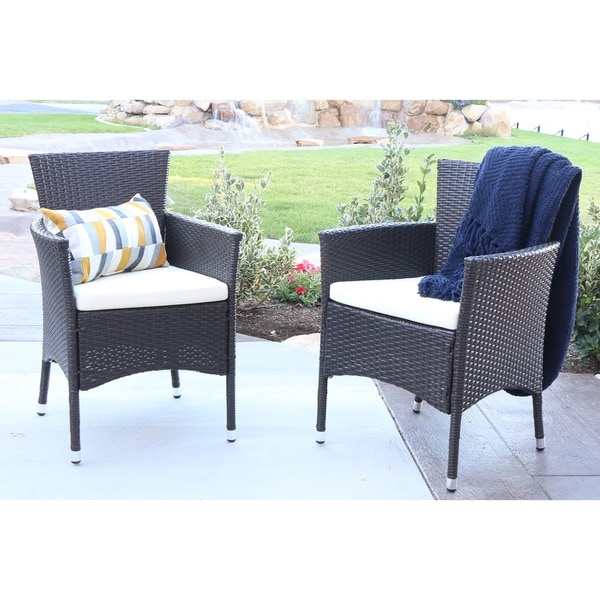 Angelo HOME Rattan Patio Dining Chairs Set Of 2 Free