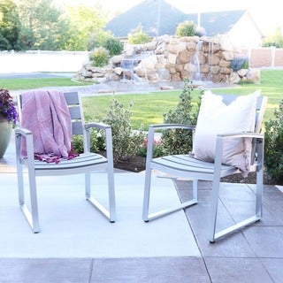 All-Weather Grey Patio Dining Chairs- Set of 2