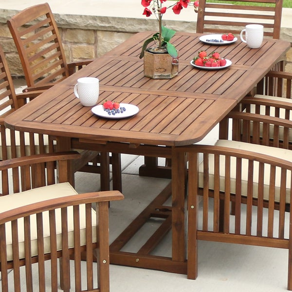 Acacia Wood Outdoor Dining Table Dark Brown Free Shipping Today