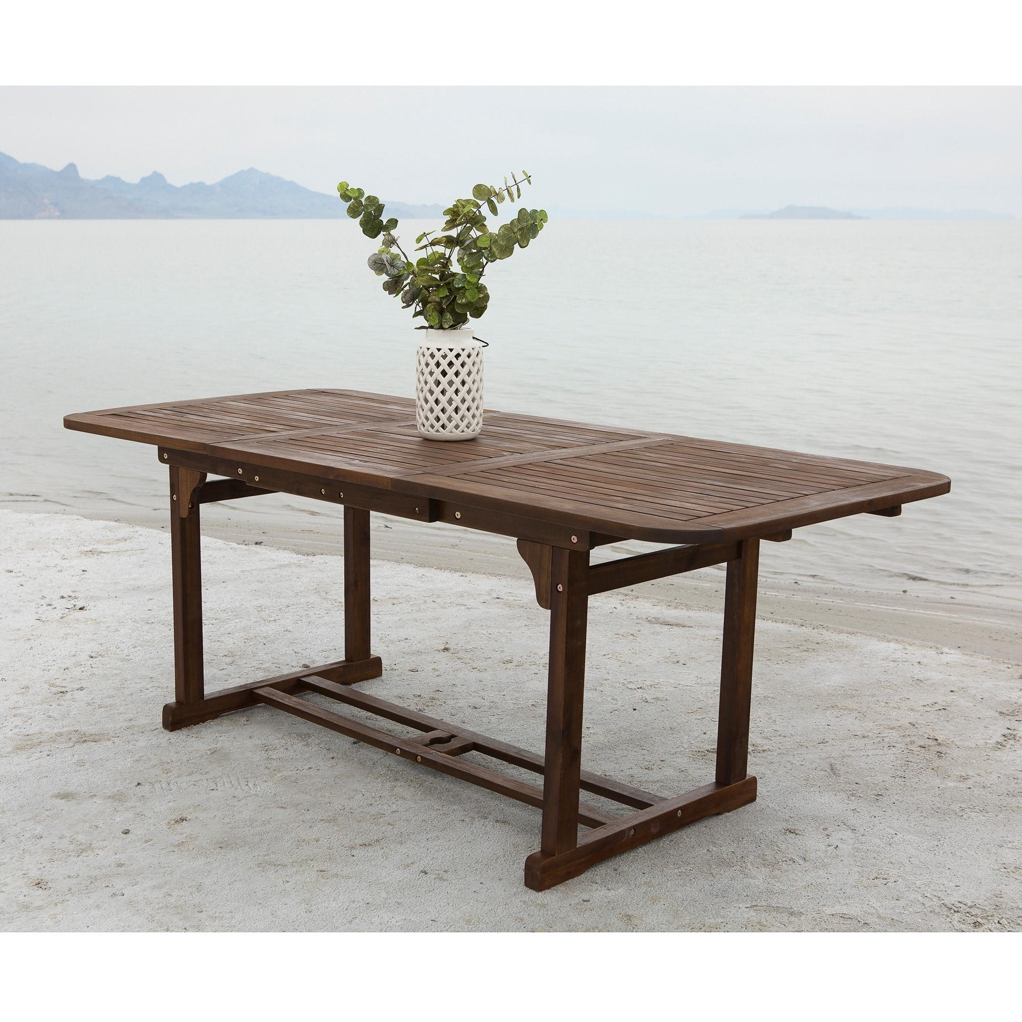 Beautiful Dark Brown Acacia Wood Outdoor Dining Table