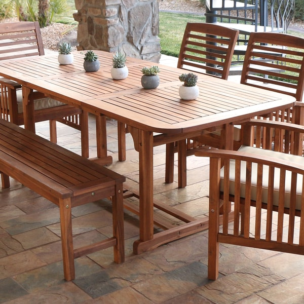 Acacia Wood Outdoor Dining Table Brown Free Shipping Today