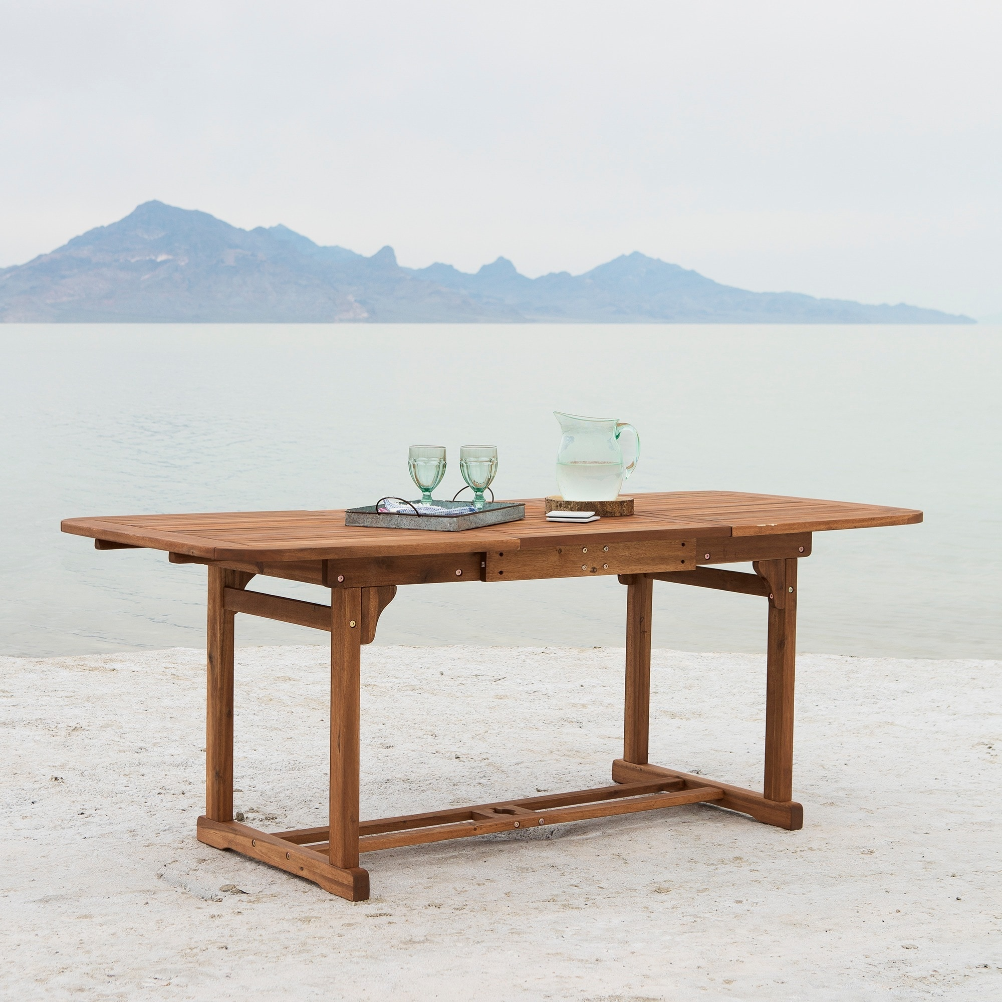 Shop Acacia Wood Outdoor Dining Table Brown Free
