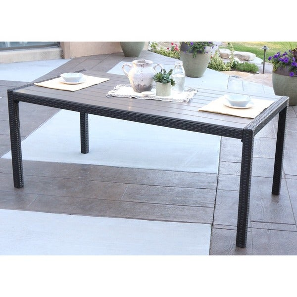 Angelo home rattan patio dining table brown free shipping today 18689818 Angelo home patio furniture