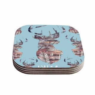 Suzanne Carter 'Wild And Free' Blue Brown Coasters (Set of 4)
