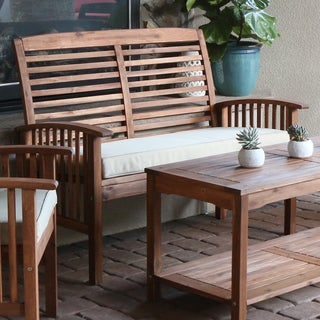 Acacia Wood Patio Loveseat   Brown. Acacia Wood Patio Chairs  Set of 2    Free Shipping Today