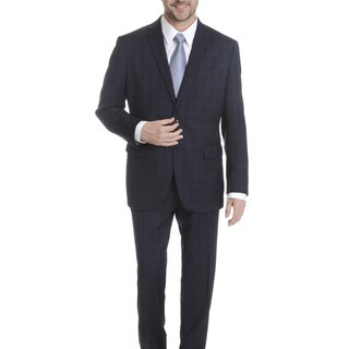 Daniel Hechter Men's Navy Windowpain Plaid Modern Fit Wool Suit