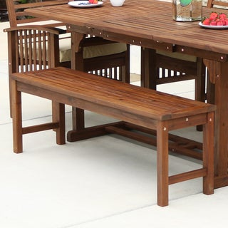 Acacia Wood 53 Inch Dark Brown Patio Bench