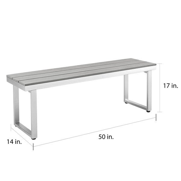 Modern All Weather Grey Patio Dining Bench   Free Shipping Today    Overstock.com   18689824