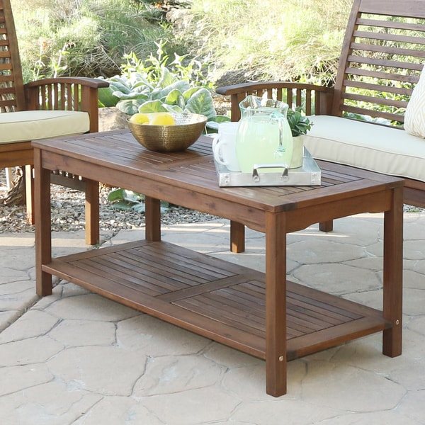 The Gray Barn Bluebird Acacia Wood Patio Coffee Table Dark Brown