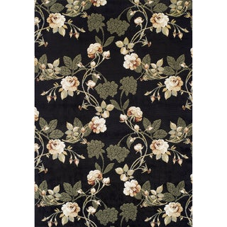 Machine-made Lily Black Olefin Rug (5'2 x 7'7)