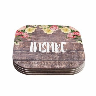 Suzanne Carter 'Inspire' Contemporary Typography Coasters (Set of 4)