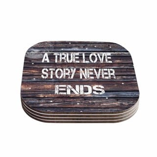 Suzanne Carter 'True Love' Contemporary Typography Coasters (Set of 4)