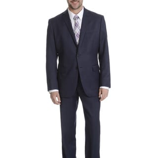 Daniel Hechter Men's Navy Sharkskin Modern Fit Wool Suit