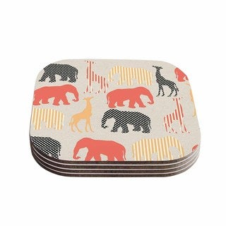 Suzanne Carter 'Zoo' Beige Coral Coasters (Set of 4)