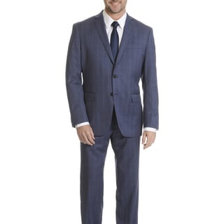Daniel Hechter Men's Blue Windowpane Plaid Modern Fit Wool Suit