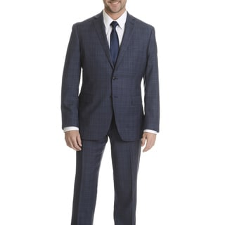 Daniel Hechter Men's Blue Plaid Modern-fit Wool Suit