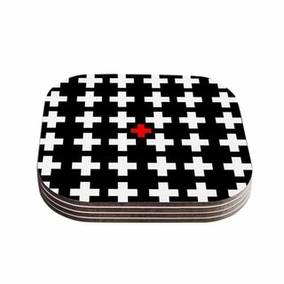 Suzanne Carter 'Swiss Cross' Black White Coasters (Set of 4)