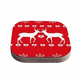 Suzanne Carter 'Christmas Deer 2' Holiday Pattern Coasters (Set of 4)
