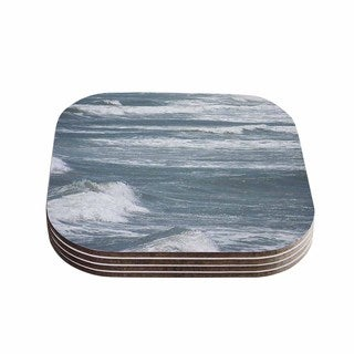 Suzanne Carter 'Crest' Blue Gray Coasters (Set of 4)