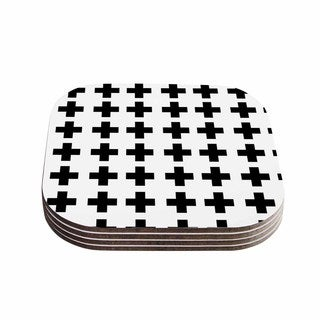 Suzanne Carter 'Swedish Cross' Black White Coasters (Set of 4)