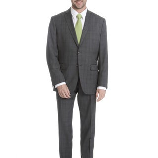 Daniel Hechter Men's Grey Plaid Modern Fit Wool Suit