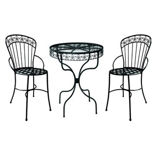 Deer Park Ironworks Black Steel Daisy Ribbon Bistro Set