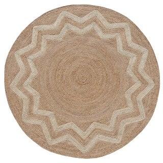 Hand-woven Braided Starburst Designer Round Jute Rug (8' x 8')