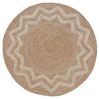 Hand-woven Braided Starburst Designer Round Jute Rug (8' x 8') - 8' x 8'