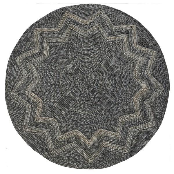 Venus Star Designer Round Handwoven Braided Jute Rug 8 X